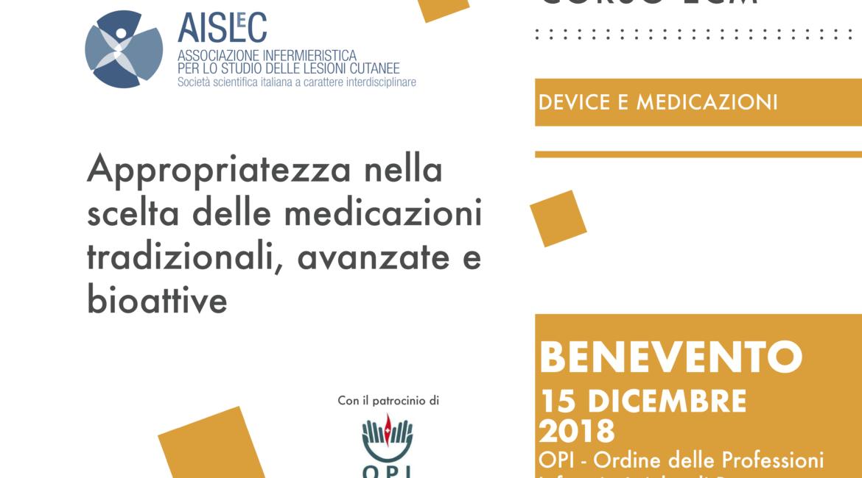 CORSO DI FORMAZIONE ECM – Appropriatezza nella scelta delle medicazioni tradizionali, avanzate e bioattive