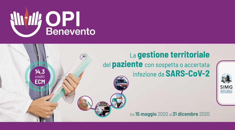 """Corso FAD ECM: """"La gestione territoriale del paziente con sospetta o accertata infezione da Sars-CoV-2"""""""